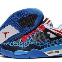 Cheap Air Jordan 4 Leopard Luminous Black Blue Red Shoes