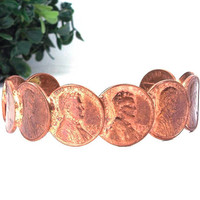 vintage 70s 1978 copper penny cuff bracelet unisex mens womens accessories simple classic date year artisan coin jewelry lincoln head trump