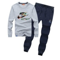 Nike Women Men Top Sweater Pullover Pants Trousers Set Two-Piece-2