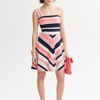 Banana Republic | Milly Collection Striped Fit and Flare Dress