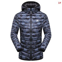 Adidas New fashion letter leaf print keep warm camouflage couple top coat