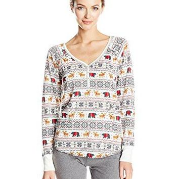 PJ Salvage Womens Mountains are Calling Henley Shirt