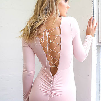 Women Lace Up Sexy Dress Pink desigual cheap clothes china vestido de festa ropa mujer Long Sleeves Bodycon Little Black Dresses