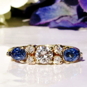 Diamond Engagement Ring Sapphire Vintage Wedding Band 14K Gold Estate Anniversary Bridal Jewelry GIA Graduate Gemologist Appraisal Included!