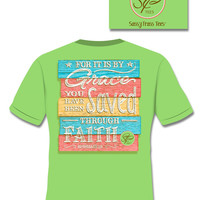 SALE Sassy Frass By Grace Saved Through Faith Christian Girlie Bright T Shirt