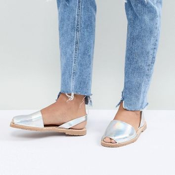 Sollilas Holographic Leather Menorcan Sandals at asos.com