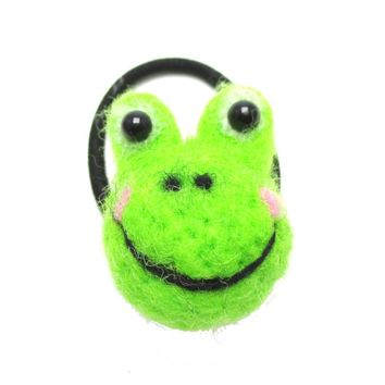 Handmade Needle Felted Wool Green Froggy Shaped Hair Tie