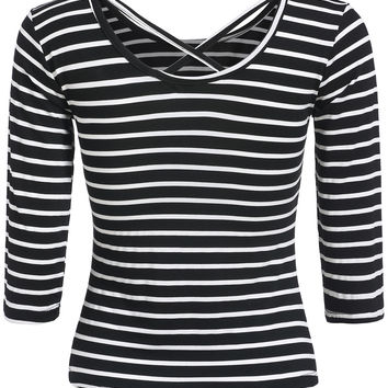 Black Crisscross Back Striped Half Sleeve T-shirt