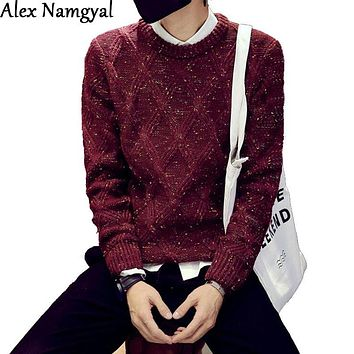 AlexNamgyal New Autumn & winter 2016 men's sweater Mens Slim Fit Brand knitwear Men Fashion Casual Plaid Pullovers jacquard MY45