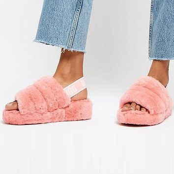 """"""" UGG"""" Hight Quality Winter Fashionable Women Warm Fluff Yeah Slippers Shoes Rose Red I/A"""