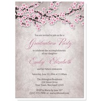 Rustic Cherry Blossom Pink Graduation Invitations