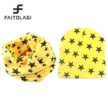 New star baby hat cotton scarf beanies cap spring crochet knitted caps scarves touca infantil for 0.5-3years old children