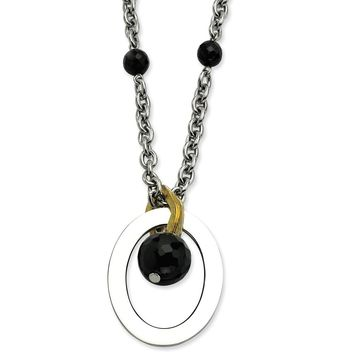 Stainless Steel Black Onyx Beads & Gold-plated accent 18 w/ 2in Necklace