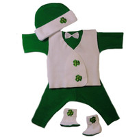Baby Boys' Irish Shamrock Suit with Vest