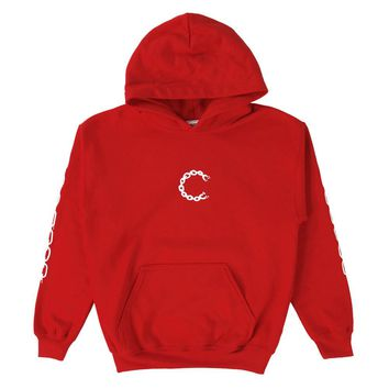 Tykes Chain C Youth Pullover Hoodie (Red)