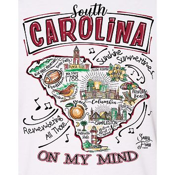 Sassy Frass South Carolina on My Mind State SC Raglan Girlie Bright T Shirt
