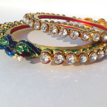 Handmade Kissing Peacock Design Royal Rajasthani Bangles with Meenakari & Lacquer work