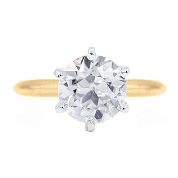 Old European Cut (OEC) Round Moissanite 14K or 18K Two-Tone Yellow Gold Band and White Gold 6 Prongs Solitaire Ring