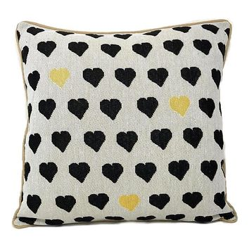 "DaDa Bedding Lovely Black and Yellow Polka Hearts Tapestry Throw Pillow Covers 16"" (18113)"