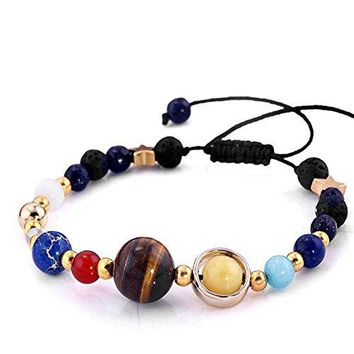 Universe Galaxy the Eight Planets in the Solar System Guardian Star Natural Stone Beads Bracelet Bangle