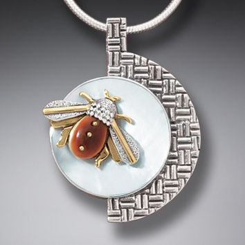 """Moon Bee"" Ancient Fossilized Mammoth Tusk Ivory, Mother of Pearl Silver and 14kt Gold Fill Honeybee Pendant"