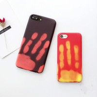 Funny Touch it Case ! Hot induction thermal discoloration mobile phone Case for iphone7 plus finger print when touching