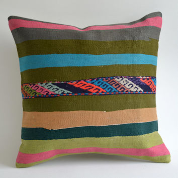 Sukan / Handwoven Vintage Turkish Kilim Pillow Cover, Decorative Pillow, Throw Pillow Cover, Accent Pillow, 16x16 inch