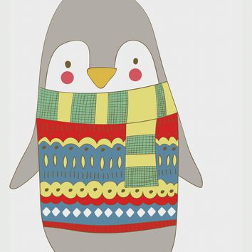 Contemporary Penguin in a Colorful Knit Sweater Hand Embroidery Pattern