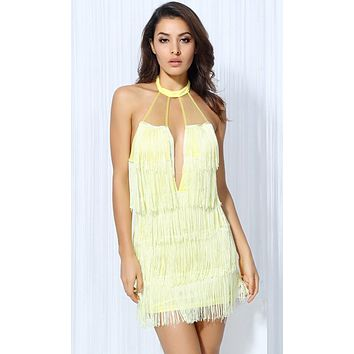 Lemon Ice Yellow Sheer Mesh Fringe Sleeveless Halter Plunge V Neck Backless Mini Dress