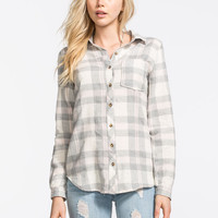 Polly & Esther Womens Basic Flannel Shirt Grey Combo  In Sizes