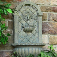 Outdoor Wall Mount Electric Water Fountain in French Limestone Finish