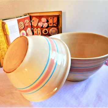 2 McCoy Pink & Blue Stripe Mixing Bowls,  Mid Century Mixing Bowls, Vintage McCoy Nesting Bowls