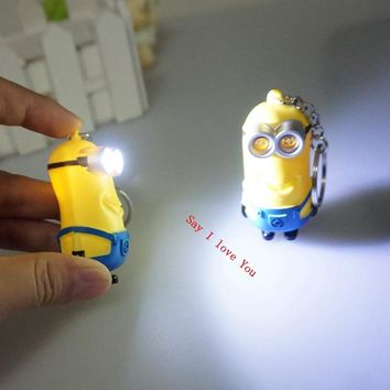 New arrive 3D minions LED Keychain talk minions, Kevin minions with sound,gift for lovers christmas gift 6#