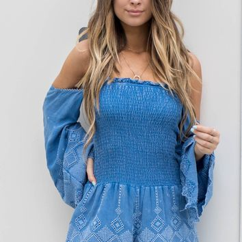 Know It's True Blue Romper - Amazing Lace