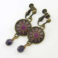 Purple Clip on Earrings, Antique Brass Boho Dangle Clip Earrings