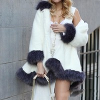 Women Fluffy Warm Winter Long Faux Fur Coat Jacket Thick Parkas with Hooded
