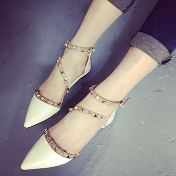 Flats Pointed Toe Suede Flat Rivet Shoes = 4804994820
