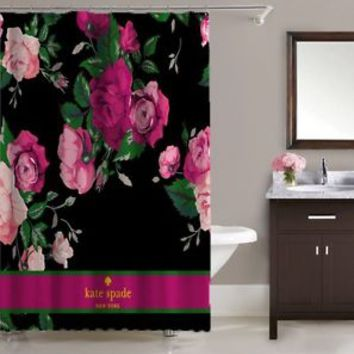 "Luxury Kate Spade Stripe Pink Rose Shower Curtain 60""x72"" Print On"