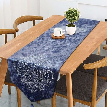 Beaded Velvet Table Runner