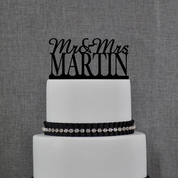 Mr and Mrs Cake Topper, Personalized Last Name Wedding Cake Topper, Custom Wedding Topper, Elegant Wedding Topper, Unique Cake Topper (S003)