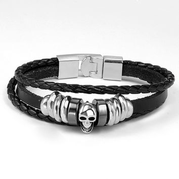 Skull Charms Leather Bracelet