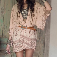 Ladies Blush Pink Summer Chiffon Boho Kimono Cardigan Cover Up in Tribal/Feather Print