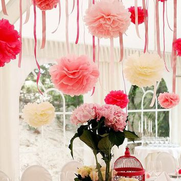 5PCS Handmade 6''(15CM) Tissue Paper Pom Poms Paper Flower Ball Pompom For Home Garden Wedding Birthday&Wedding Car Decoration