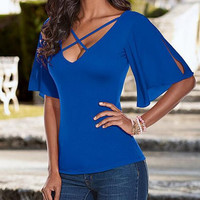 New Summer fashion Sexy Women Solid Color bandage V Neck Short sleeve T-shirt -0707