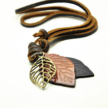 brown soft leather necklace with leaves pendant women leather necklace, men leather necklace, unisex leather necklace CB30