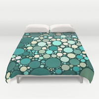 teal dots Duvet Cover by Sylvia Cook Photography