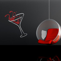 Vinyl Wall Decal Sticker Martini Glass Item #OS_MB125