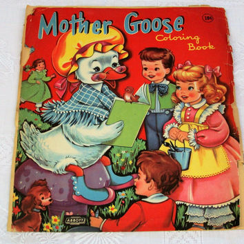 Vintage Mother Goose Coloring Book Pages Ephemera