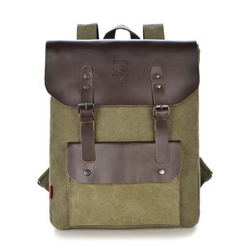 Designer Men's Backpack Cow Leather Canvas Backpack Men Commercial Casual Backpack School Backpacks for Men Travel Vintage Bags