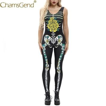 Cool Free Shipping Yellow Rose Skeleton Print Women Jumpsuit Sleeveless Skinny Bodysuits Cosplay Costume For Halloween 80814AT_93_12